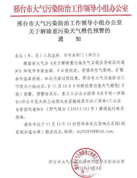邢台市解除重污染天气橙色预警